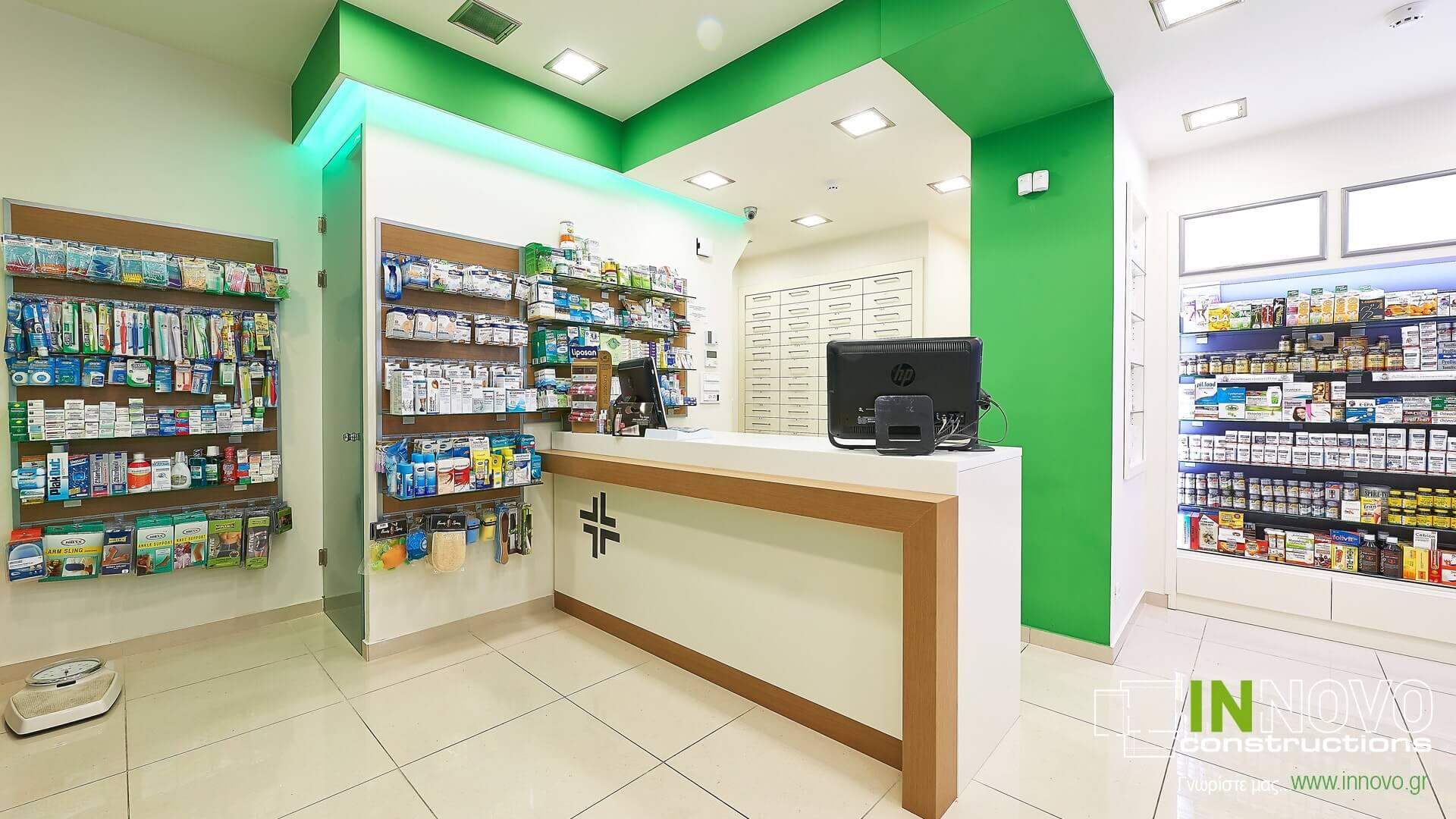 Διακοσμήσεις φαρμακείων στο Κολωνάκι από την Innovo
