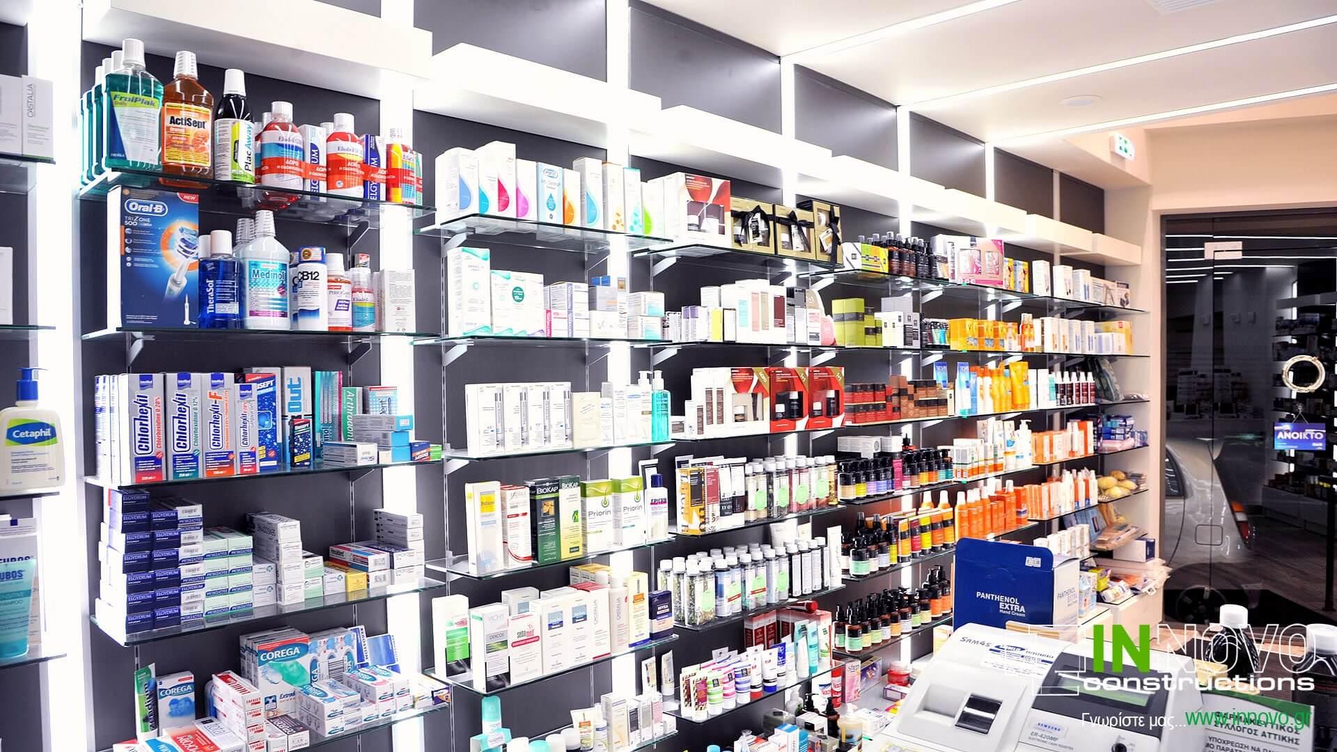 Σχεδιασμός ανακαίνιση φαρμακείου πλατεία Μαβίλης