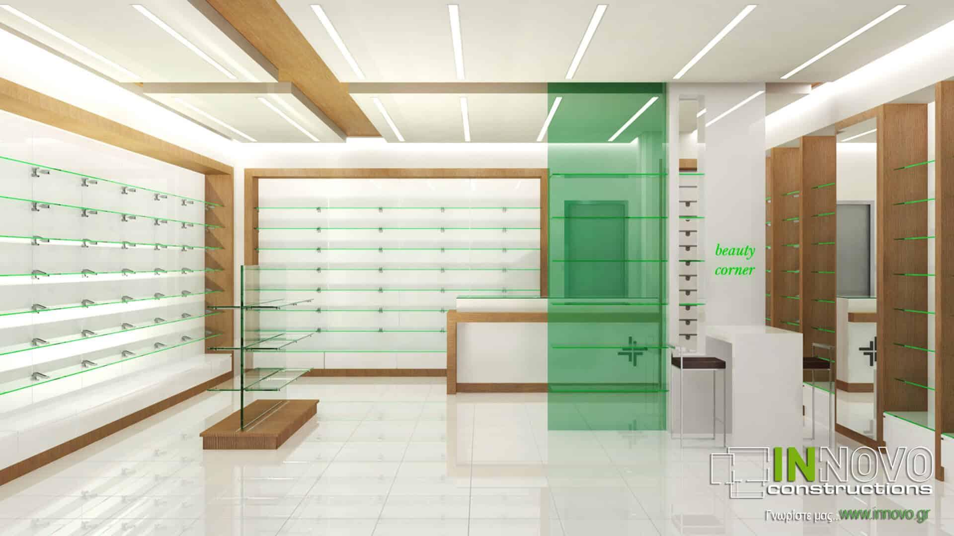 Σχεδιασμός διακόσμηση φαρμακείου στην Αθήνα