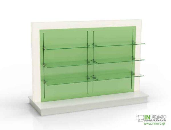 Βιτρίνα τζαμαρίας Β- Alkmini white green back
