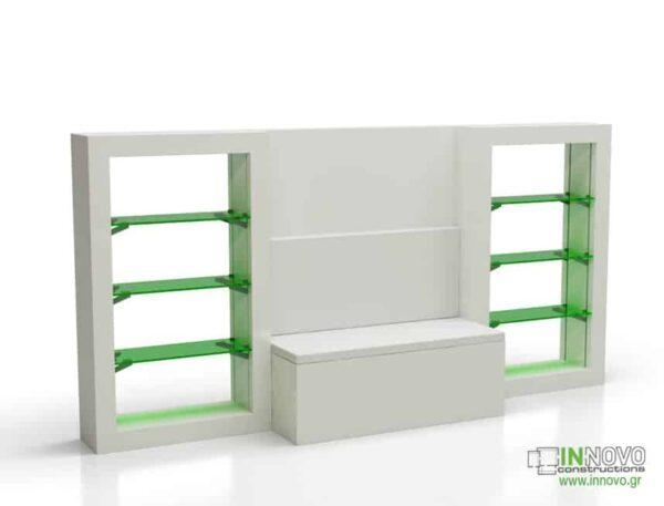 Βιτρίνα τζαμαρίας B Filtis back white-green