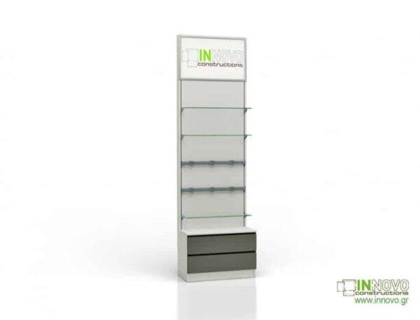 Βιτρίνα φαρμακείου D Standard column double box light inox