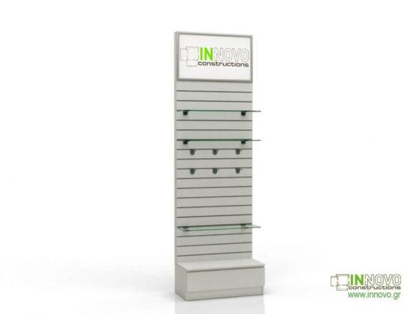Βιτρίνα φαρμακείου D-Standard-Slat Lightbox inox