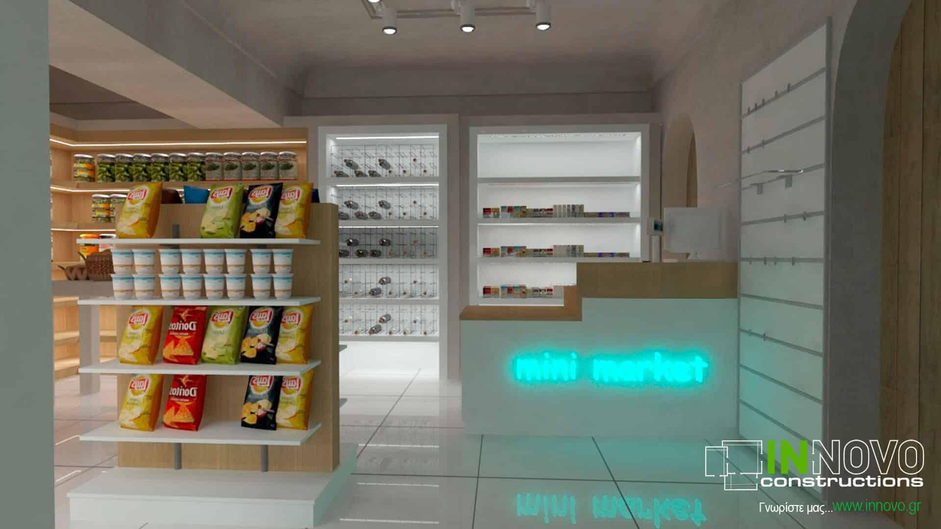 Ανακαίνιση σνακ – καφέ – μάρκετ στη Σαντορίνη
