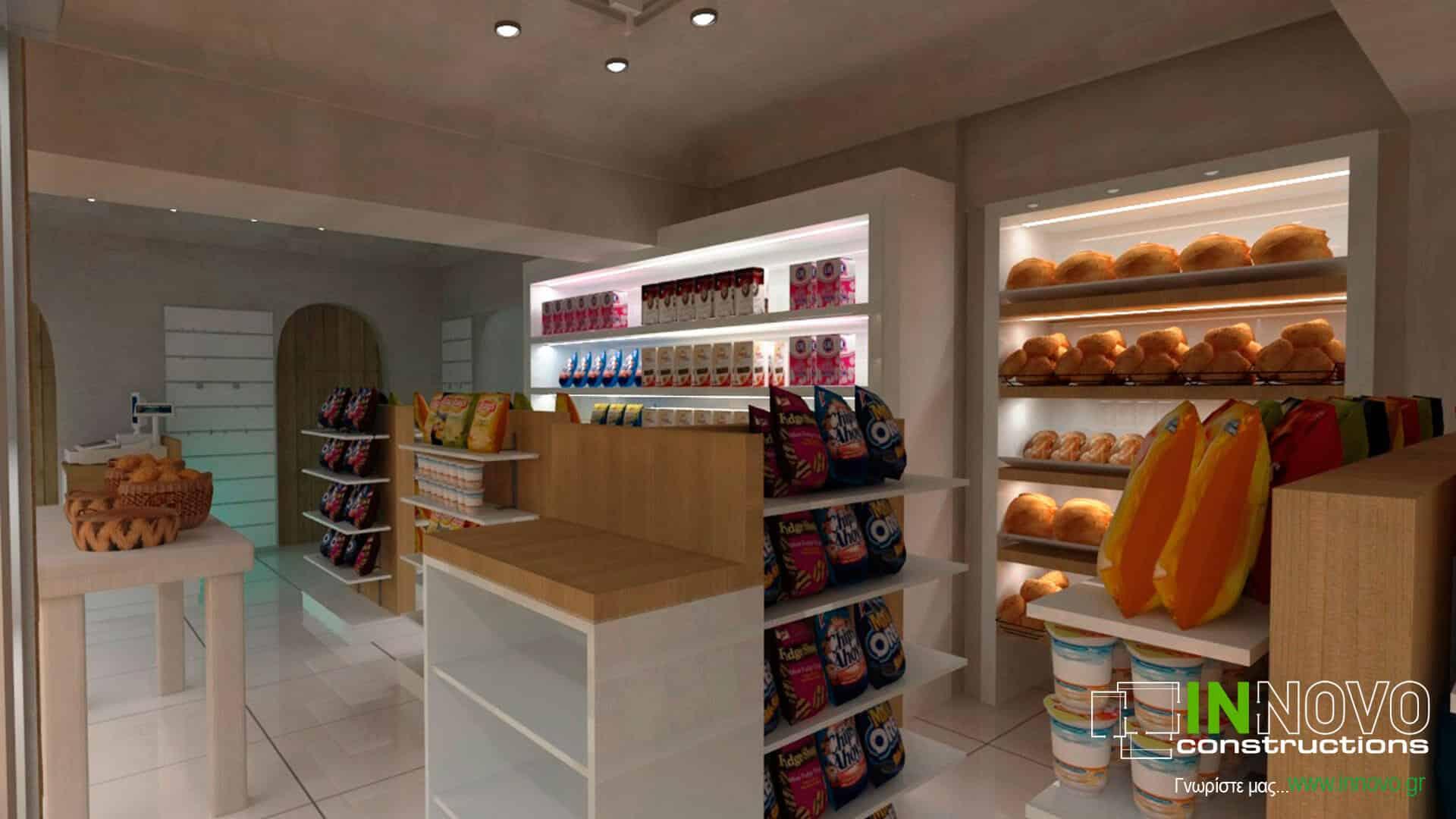 Σχεδιασμός σνακ – καφέ – μάρκετ στη Σαντορίνη