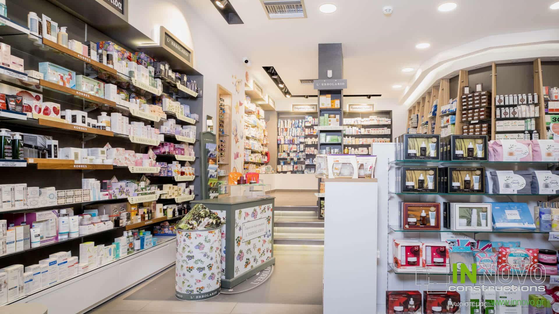 Στο Περιστέρι, κατασκευή και διακόσμηση φαρμακείου