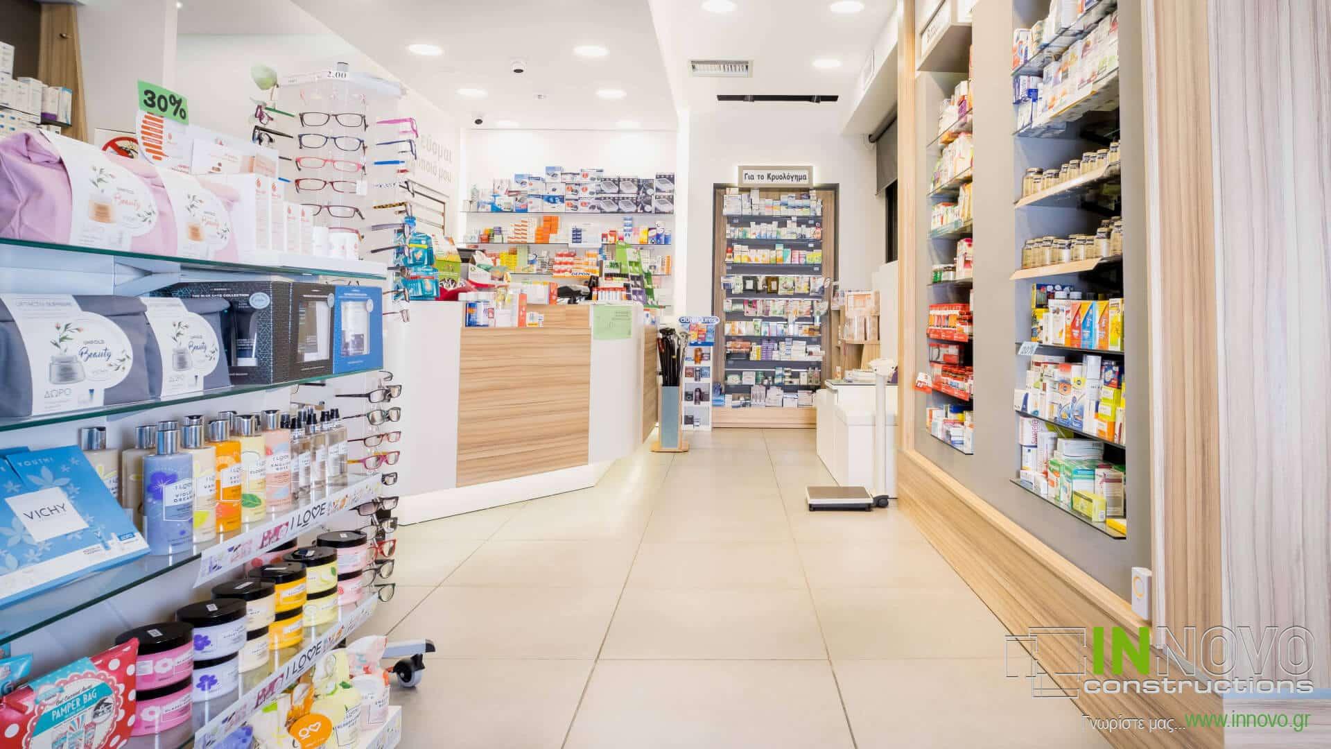 Στο Περιστέρι,ανακαίνιση διακόσμησης φαρμακείου