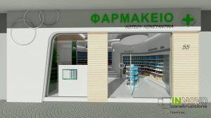 Μελέτη-φαρμακείου-meleti-farmakeiou-pharmacy-design-facade-πρόσοψη