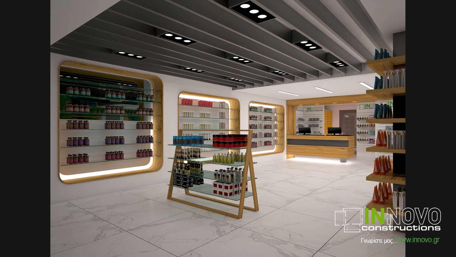 Κατασκευή σχεδιασμός φαρμακείου στον Άγιο Δημήτριο από την Innovo