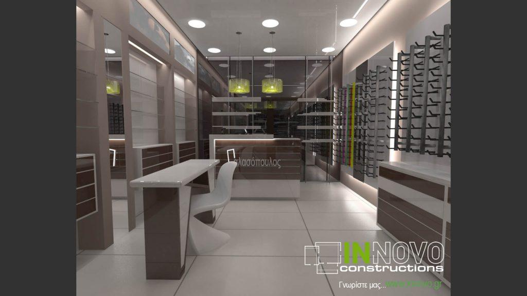 Μελέτη κατασκευής καταστήματος οπτικών στο Γαλάτσι από την Innovo Constructions