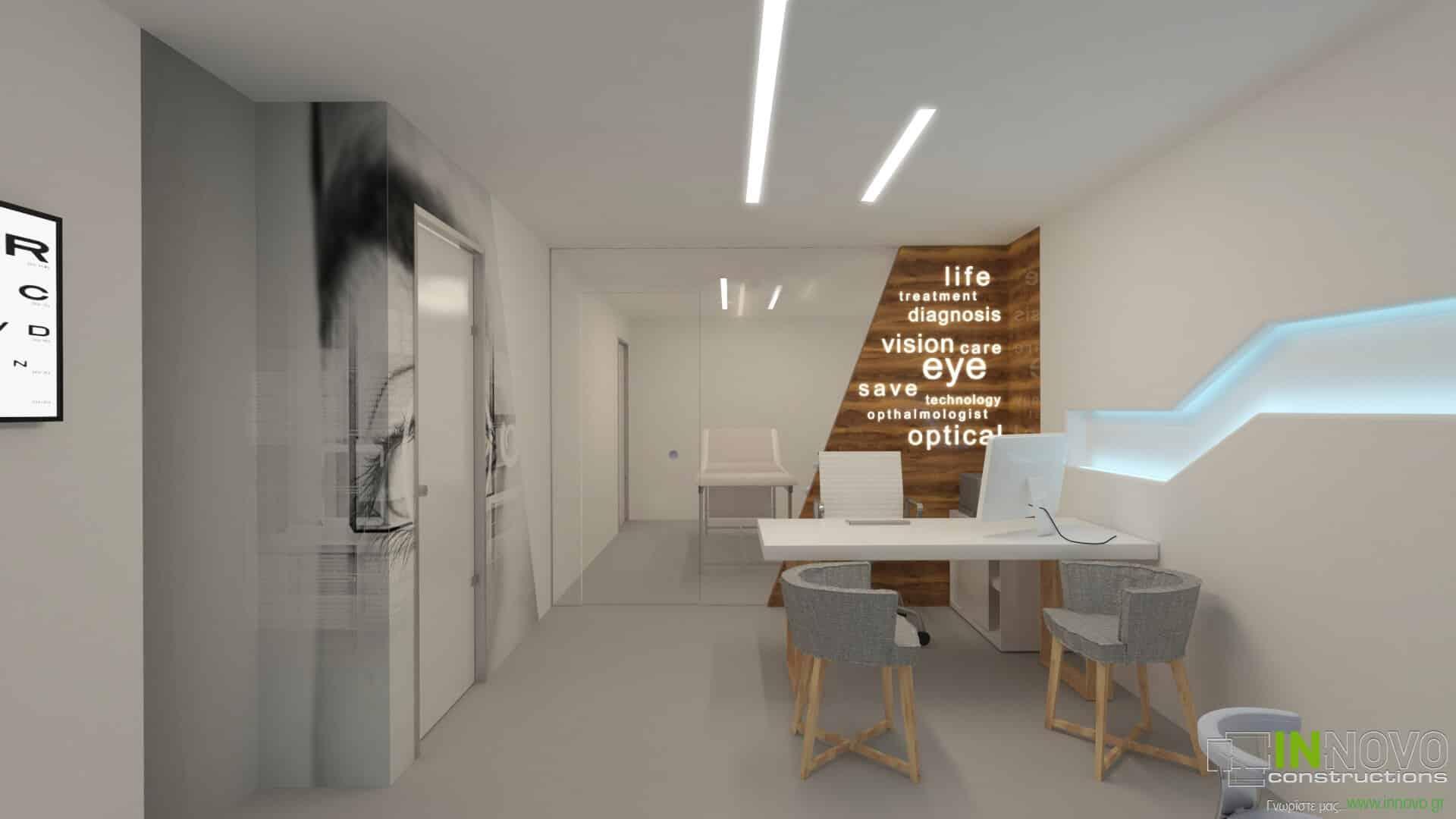 Σχεδιασμός εξοπλισμού οφθαλμολογικής κλινικής στη Γλυφάδα