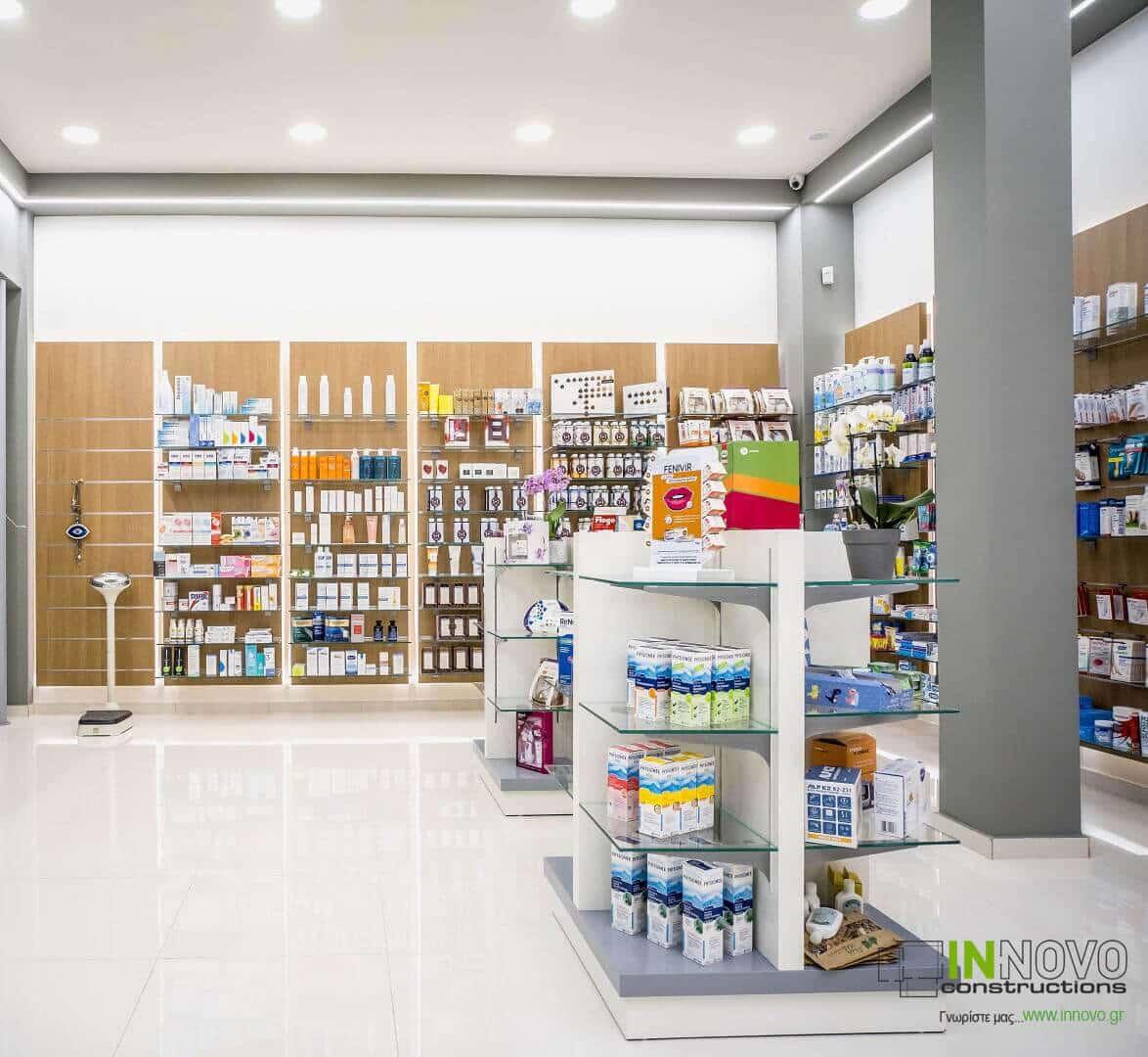 Σχεδιασμός διακόσμησης φαρμακείου Ηλιούπολη από την Innovo Constructions