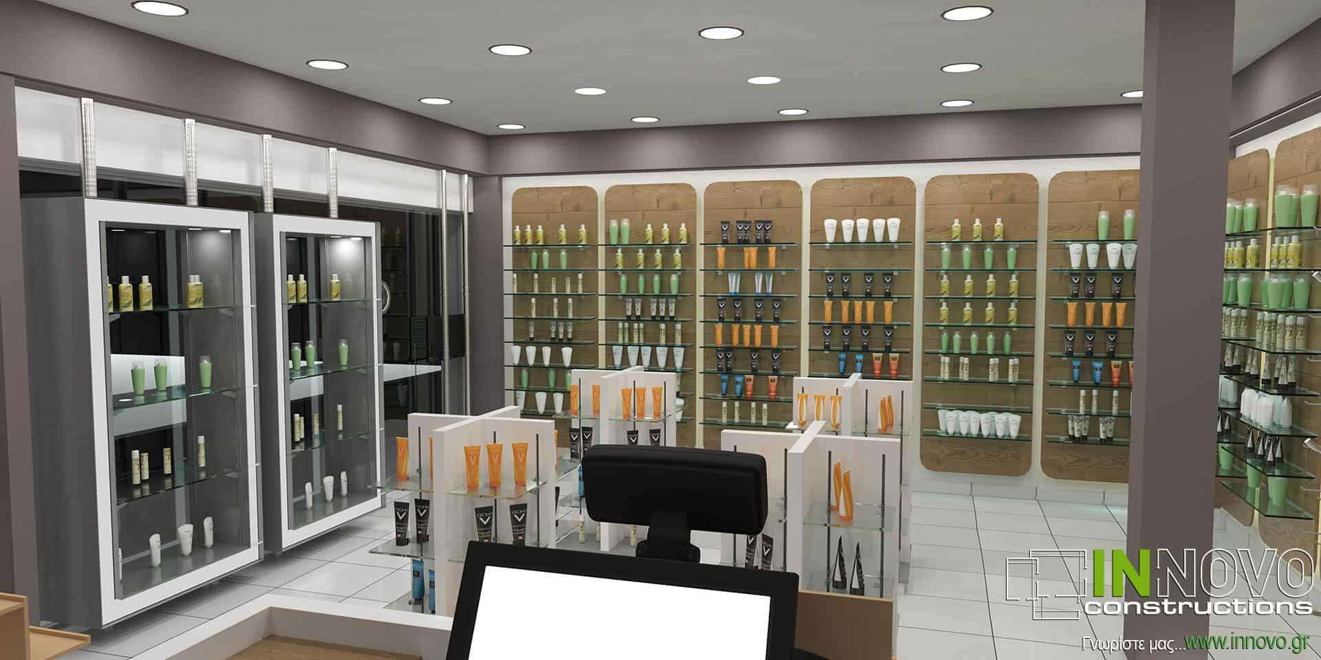 Μελέτη, σχεδιασμός και κατασκευή φαρμακείου Ηλιούπολη από την Innovo Constructions