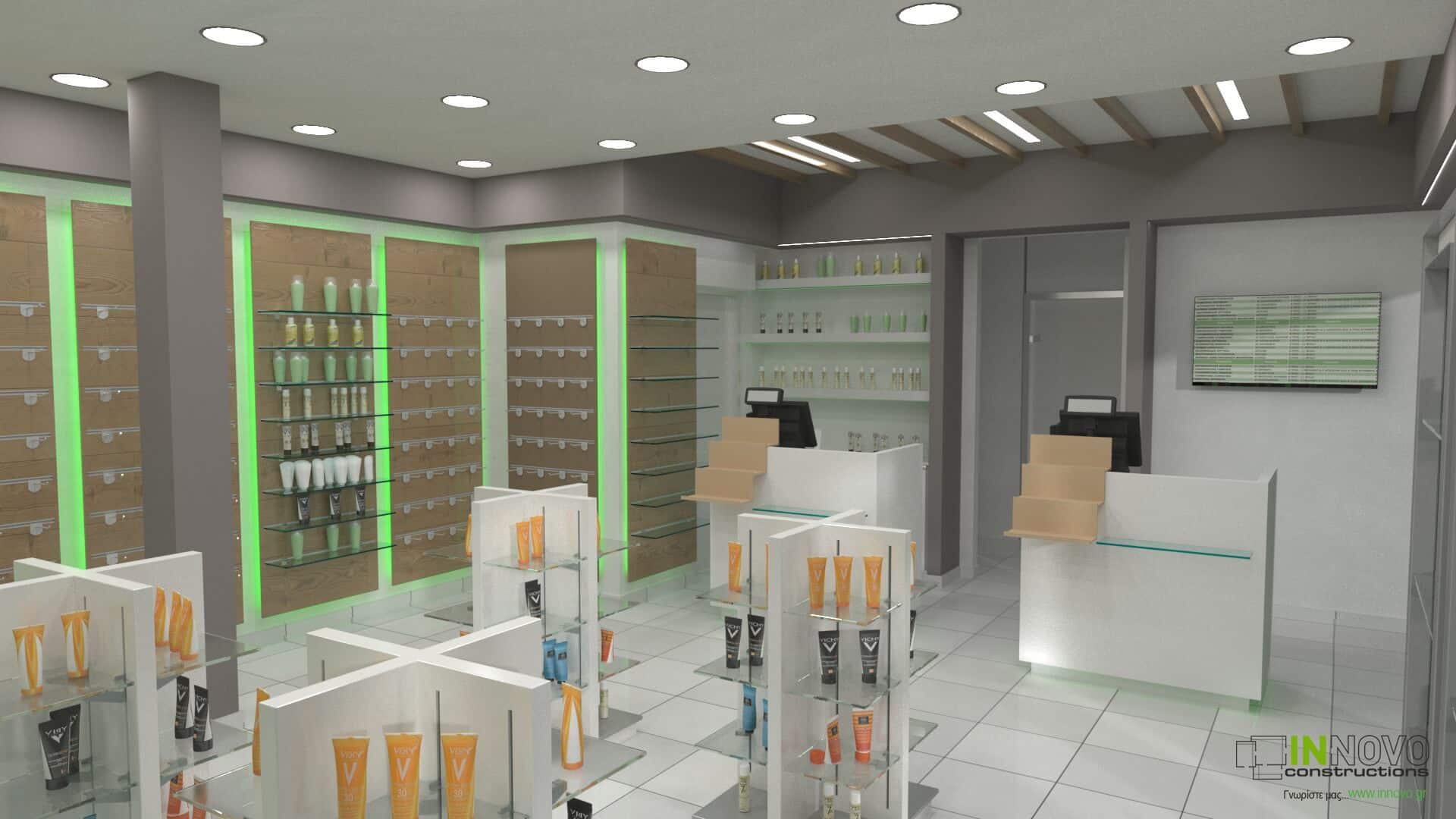 Σχεδιασμός και κατασκευή φαρμακείου Ηλιούπολη από την Innovo Constructions