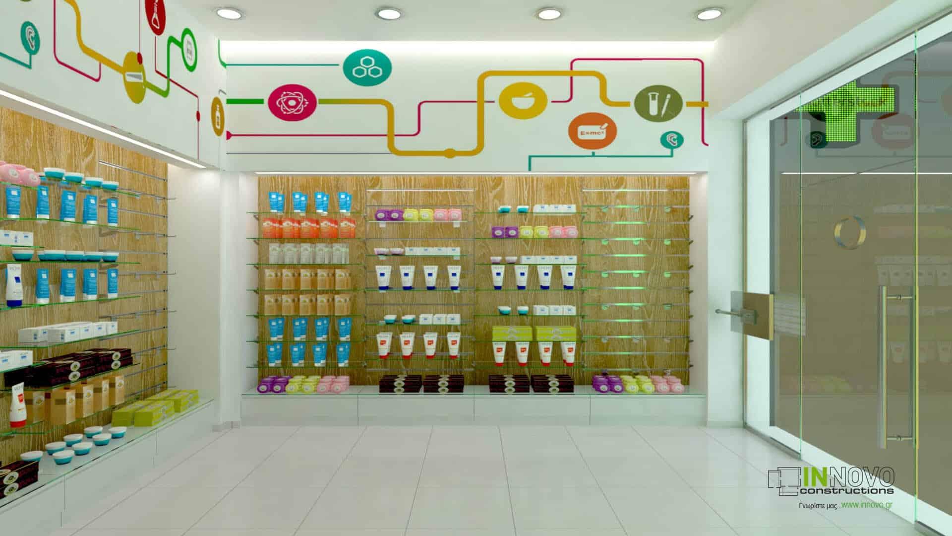 Σχεδιασμός διακόσμησης φαρμακείου στην Αθήνα