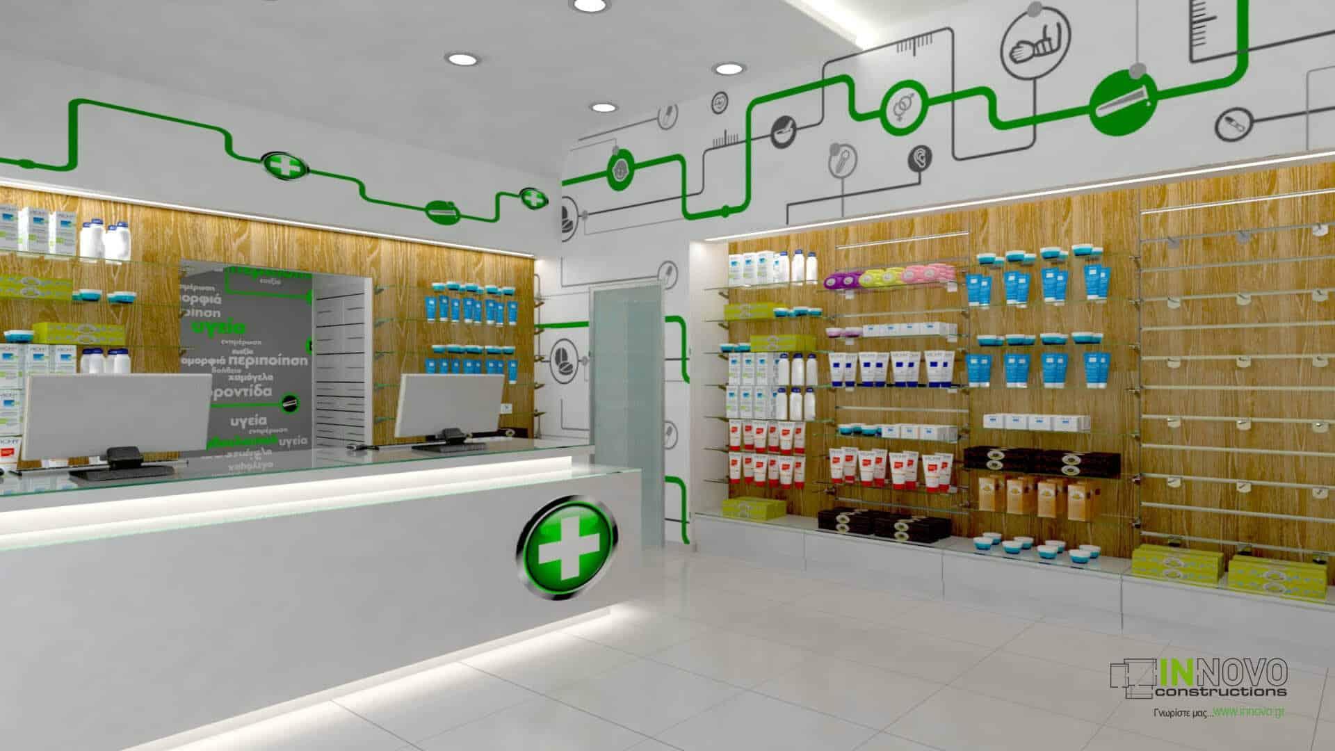 Σχεδιασμός ανακαίνισης φαρμακείου στην Αθήνα